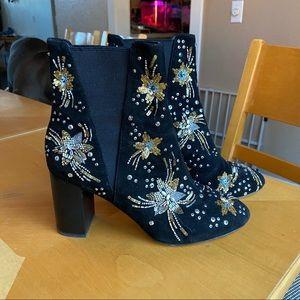 Rebecca Minkoff Black Sequin Booties Sz.8